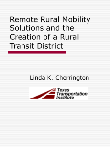 Remote Rural Mobility Solutions and the Creation of a Rural Transit