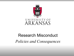 Research Misconduct: Policies and Consequences