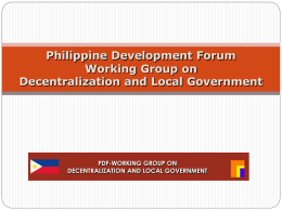 Update - Philippines Development Forum