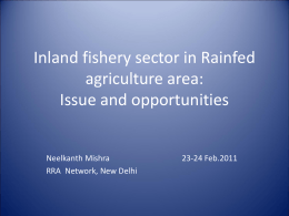 Inland fishery sector: Issue and opportunities