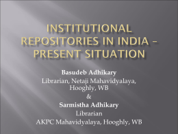 Institutional Repositories in India – Present Situation
