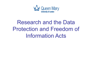 Research and the Data Protection and Freedom of Information Acts