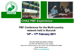 A PBF experience in Zambia - Performance Based Financing