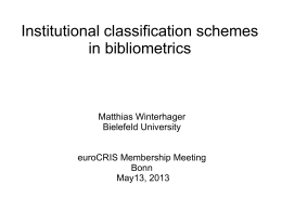 1. M. Winterhager (Institutional classification systems in