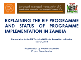 THE ENHANCED INTEGRATED FRAMEWORK PROGRAM