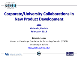 Corporate/University Collaborations In New Product