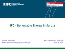 IFC – Renewable Energy in Serbia
