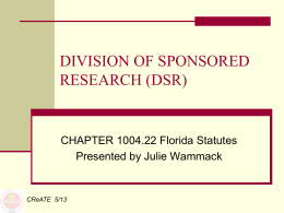 DSR Statute & Sponsored Research Exemption