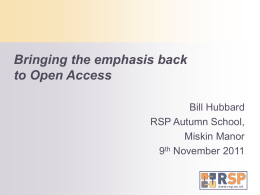 Bringing the emphasis back to Open Access