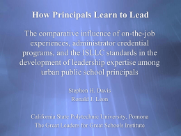How Principals Learn to Lead