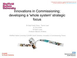 Innovation in Commissioning Theme - CLAHRC SY