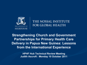 Strengthening Church and Government Partnerships for Primary