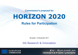 Commission`s proposal for HORIZON 2020 Rules for Participation