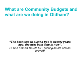 Oldham Community Budget Workshop