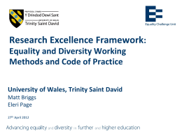 Equality and Diversity in the REF - University of Wales Trinity Saint