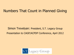 Numbers That Count in Planned Giving