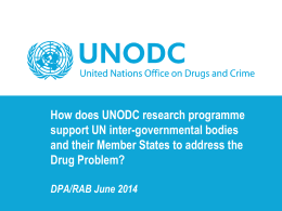 presentation by Ms. Angela Me - United Nations Office on Drugs and