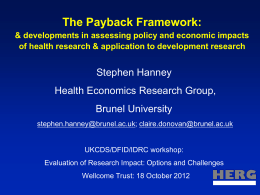 The Payback Framework: & developments in assessing