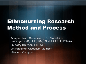 Ethnonursing Research Method and Process