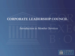 Corporate Leadership Council - Introduction
