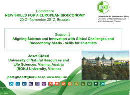 Josef Glössl - New Skills for a European Bioeconomy