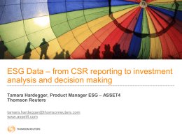 Quantifiyng CSR – how investors work with ESG data