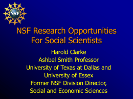 NSF Research Opportunities For Social Scientists