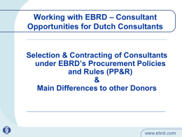 EBRD PP&R and Selection of Consultants