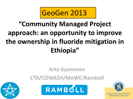 GeoGen 2013, Community Managed Project approach