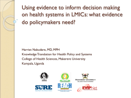 Supporting Use of Research Evidence for Policy in African Health