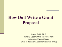 Writing a Research Proposal - University of Central Florida