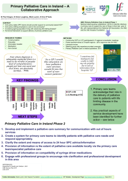 Primary Palliative Care in Ireland – A Collaborative Approach