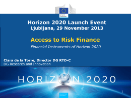"""Access to Risk Finance"" in HORIZON 2020"
