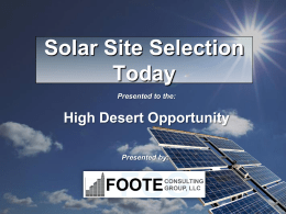 Solar Site Selection Today - Foote Consulting Group, LLC