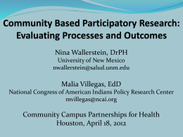 Research for Improved Health - Community Campus Partnerships