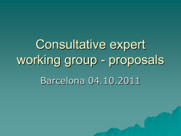 Consultative expert working group
