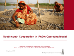South-South Cooperation in IFAD`s operating model