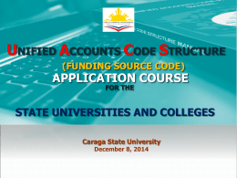 UACS Funding Source Code Application Course for SUCS