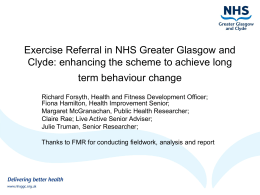 Exercise Referral in NHS Greater Glasgow and Clyde