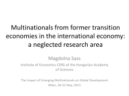 Multinationals from former transition economies in the international