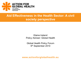 Delivering Effective Aid for Health: International Health