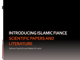 Dr. Sayed- Introducing Islamic Finance Literature