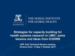 Strategies for capacity building for health systems research in LMIC