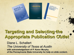 Targetting and Selecting Appropriate Journals