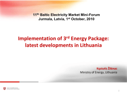 Implementation of 3rd Energy Package