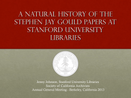 A Natural History of the Stephen Jay Gould papers at Stanford