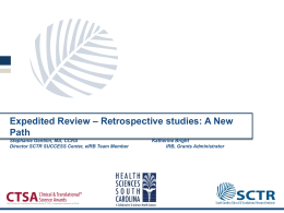 Expedited Review - Retrospective studies