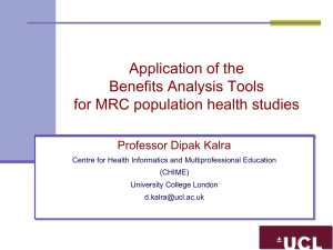 Application of the Benefits Analysis Tools for MRC