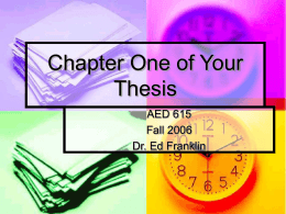 Powerpoint - Chapter One of Your Thesis