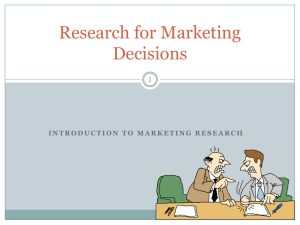 Research for Marketing Decisions Unit 1